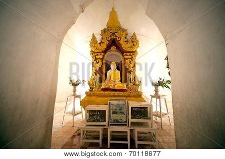 Sitting Buddha Into Hsinbyume Pagoda In Myanmar.