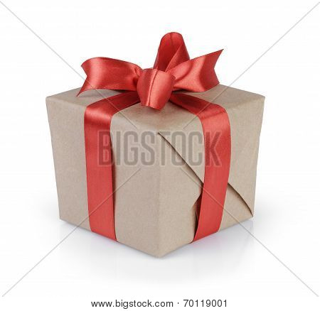 Cube Gift Box Wrapped With Kraft Paper And Red Bow