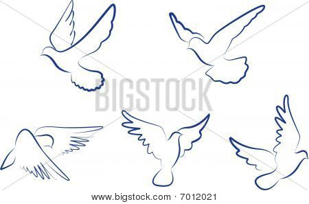 Set of doves