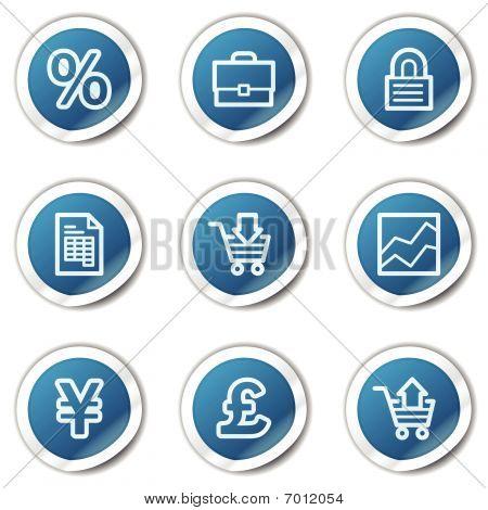 E-business web icons, blue sticker series