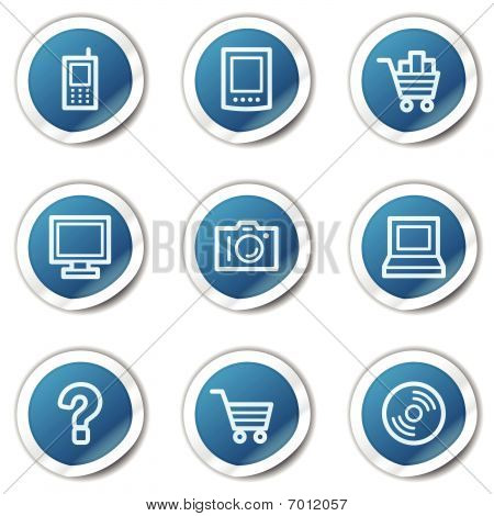 Electronics web icons set 1, blue sticker series