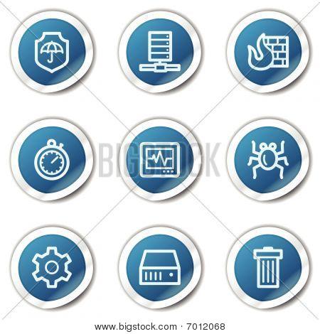 Série etiqueta Internet segurança web ícones, azul