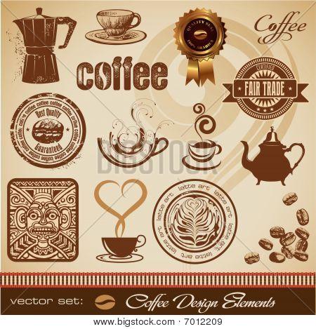 Kaffee-Design-Elemente