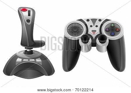 Set Icons Joysticks Modern For Gaming Consoles Vector Illustration Eps 10