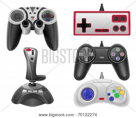 Set Icons Joysticks For Gaming Consoles Vector Illustration Eps 10
