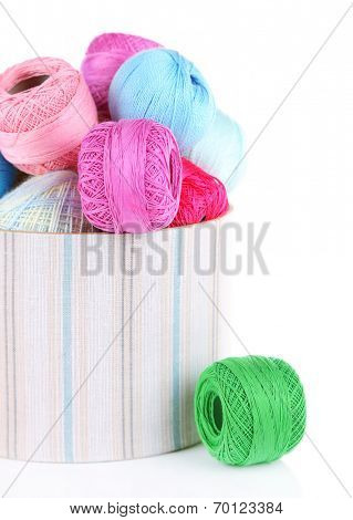 Clews of thread for hook knitting in a box isolated on white