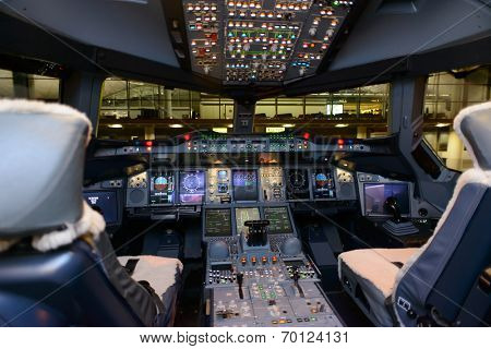 HONG KONG, CHINA - MAY 16, 2014: Emirates Airbus A380 aircraft interior on May 16, 2014. Emirates is the largest airline in the Middle East