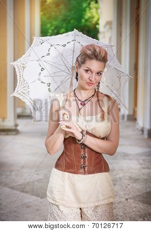 Beautiful Woman With White Umbrella