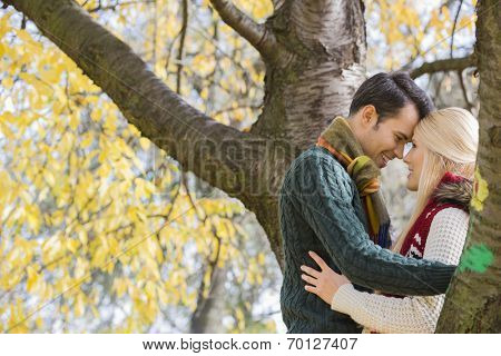 Side view of young couple hugging near autumn tree in park