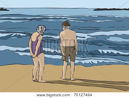 Elderly couple looking at the horizon