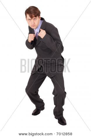 Young Man In Boxing Fighting Stance