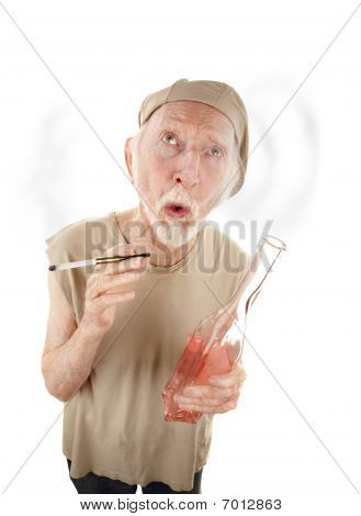 Senior Man With Gigarette And Liquor Bottle
