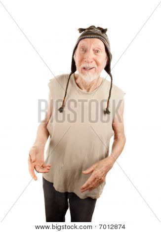 Crazy Senior Man In Knit Cap