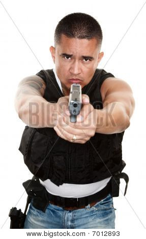 Tough Cop Pointing Gun