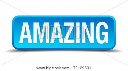 Amazing Blue 3D Realistic Square Isolated Button