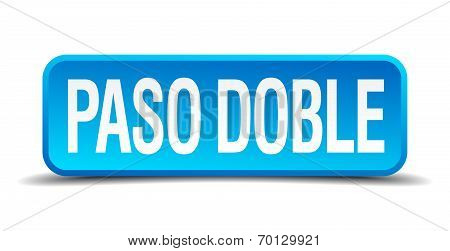 Paso Doble Blue 3D Realistic Square Isolated Button