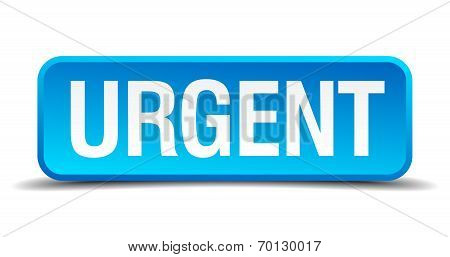 Urgent Blue 3D Realistic Square Isolated Button