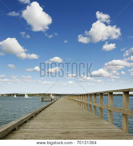 Pier boardwalk at seaside, New Zealand