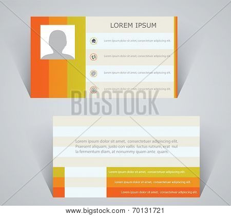 Business Card, Simple Layout With Colorful Stripes