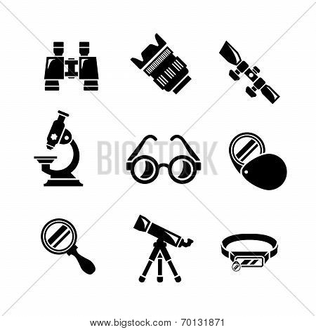Set Icons Of Optics Equipment