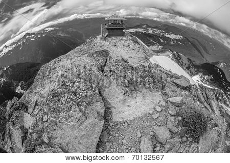 Black and white image of the Mt. Freemont Lookout in Mt. Rainier National Park, Washington