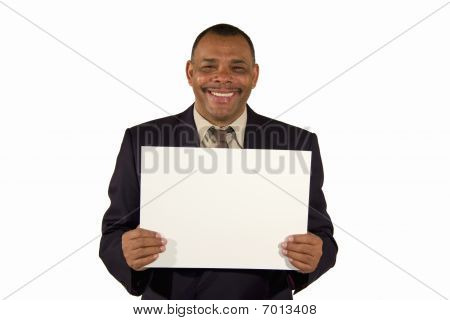 senior African-American businessman presenting board