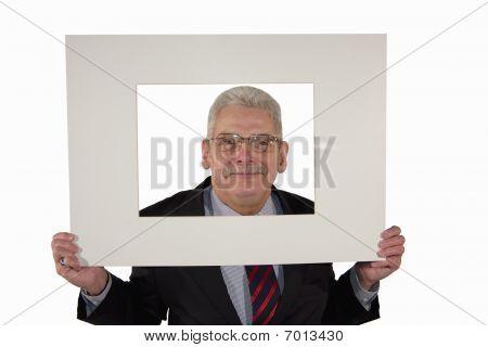 senior manager holding a photo mount