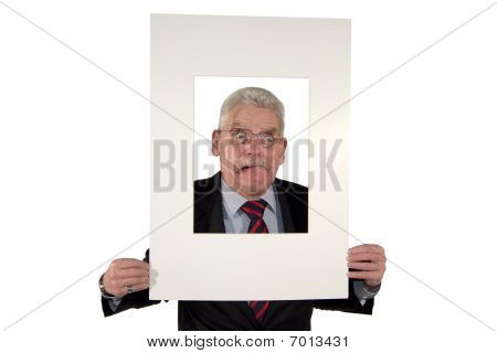 senior manager holding a photo mount