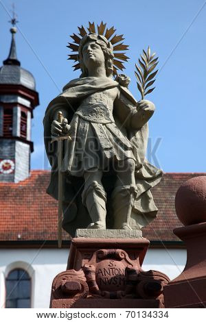 SCHONAU, GERMANY - JULY 18: Saint Antonin. Schonau Abbey is a monastery of Friars Minor in the village of Schonau near Bavarian village of Gemunden am Main,Diocese of Wurzburg. July 18, 2013