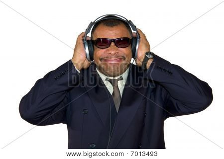 mature African-American man listening to bad sound