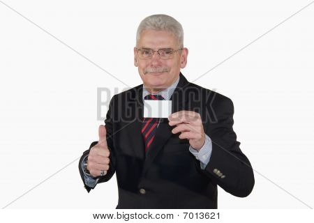 smiling senior manager with business card posing thumbs up