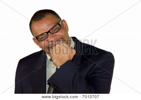 senior businessman freaking out and biting into his fist