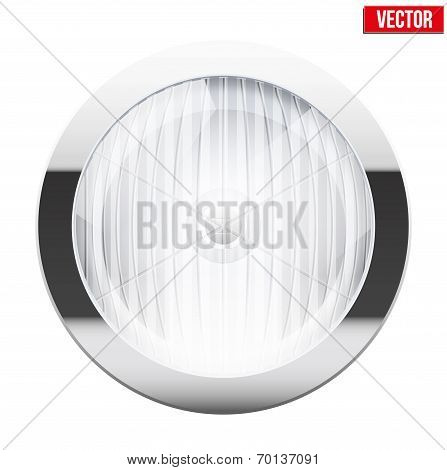 Round car headlight. Vintage Vector Illustration.