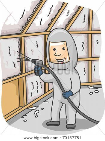 Illustration of a Man Spraying Foam Insulation