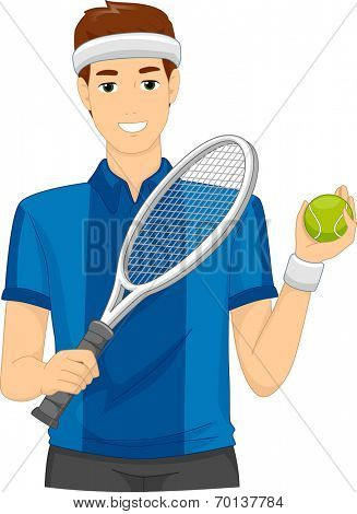 Illustration of a Man Dressed as a Lawn Tennis Player