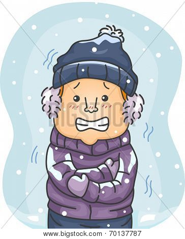 Illustration of a Man in Winter Clothes Shivering Hard Because of the Cold