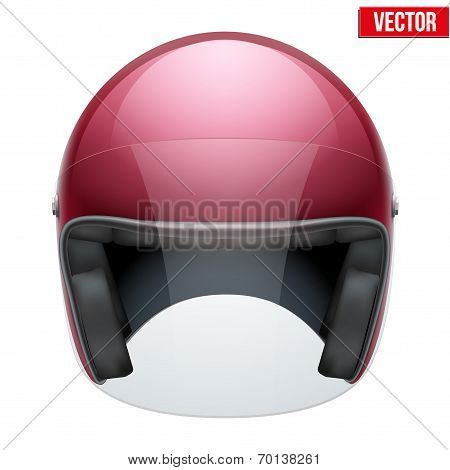 Red motorbike classic helmet with clear glass visor. Vector.