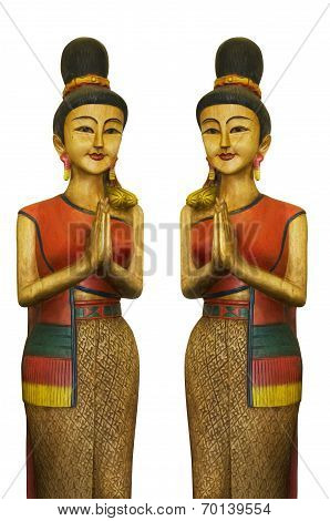 2 Thais Wood Sculpture Girl