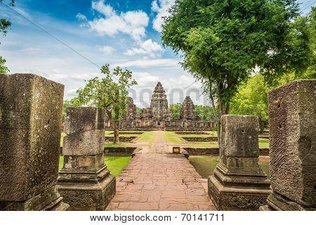 Historic Prasat Hin Phimai Castle At Nakhon Ratchasima Province, Thailand.