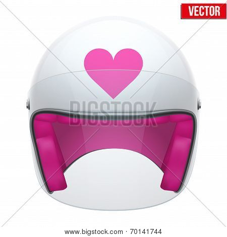 Pink Female Motorcycle Helmet with glass visor. Vector.