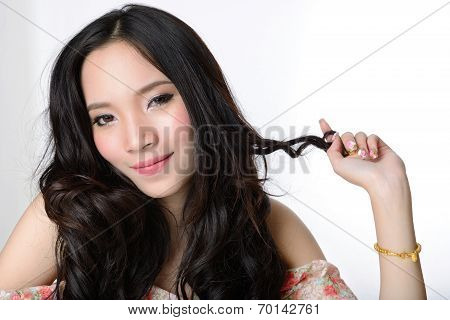 Portrait Of Beautiful Smiling Healthy Asian Long Hair Woman