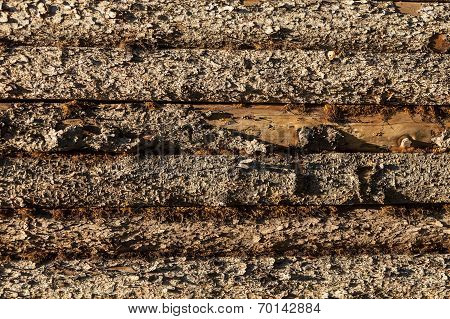 Wood planks on side of barn
