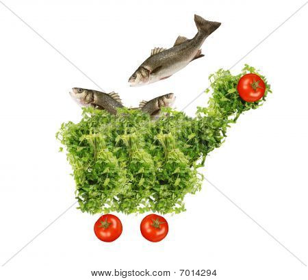 shopping cart parsley fish