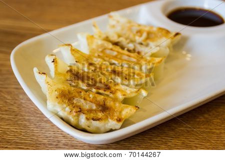 Close Up Fried Dumpling, Gyoza.