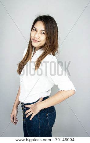 Potrait Asia Lady Mini Smile In Casual Suite White Shirt And Blue Jeans