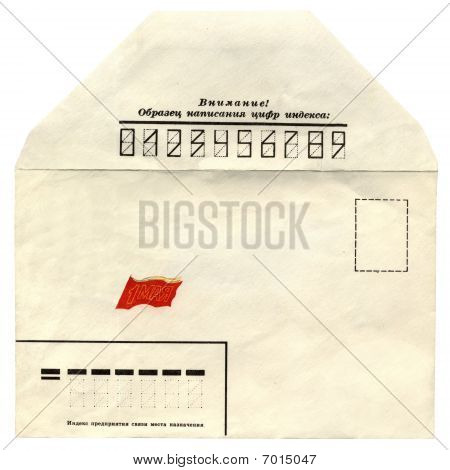 One Vintage Soviet Russian Envelope Isolated