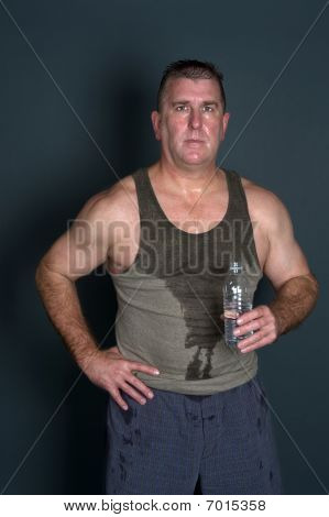 Muscular Man With Bottled Water