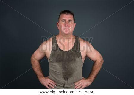 Sweaty Muscular Man After Workout