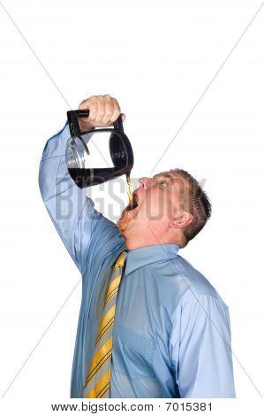Man Drinking Pot Of Coffee