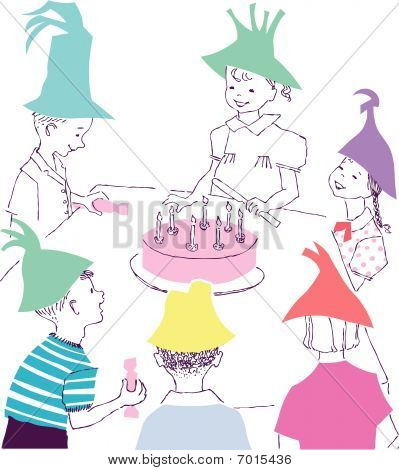 Happy Birthday celebration cartoon with kids children
